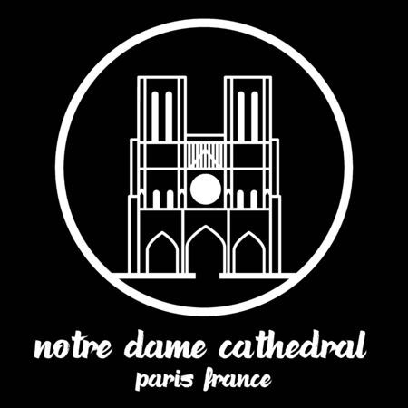 Circle Icon Notre Dame Cathedral. vector illustration Standard-Bild - 133311406