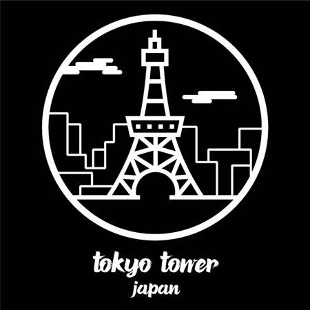 Circle icon line tokyo tower. vector illustration