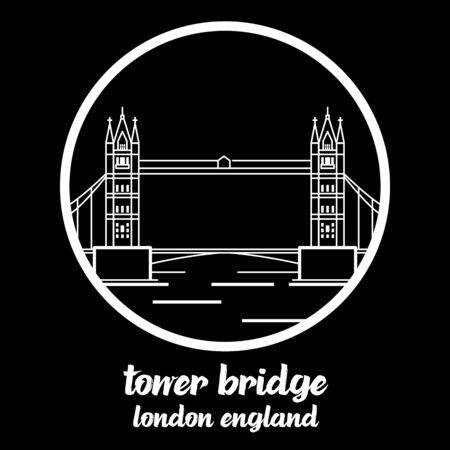 Circle Icon tower bridge. vector illustration Illustration