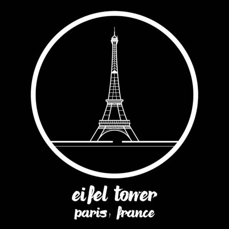 Circle Icon eiffel tower paris france. vector illustration. Illustration