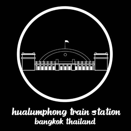 Circle icon Hualamphong Train Station sign icon.