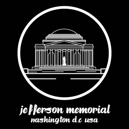 Circle Icon jefferson memorial.vector illustration