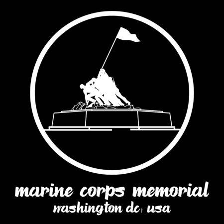 circle icon line Statue of marine corp memorial in washington dc usa. vector line icon.