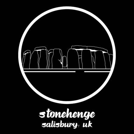 Circle Icon stonehenge. vector illustration