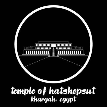 Círculo Icono Templo de Hatshepsut. ilustración vectorial