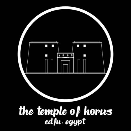 Circle Icon The Temple of Horus. vector illustration 일러스트
