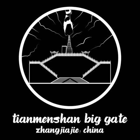 Circle Icon Tianmenshan heaven door Big gate. vector illustration 스톡 콘텐츠 - 133311825