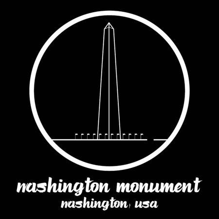 Circle Icon Washington Monument. vector illustration