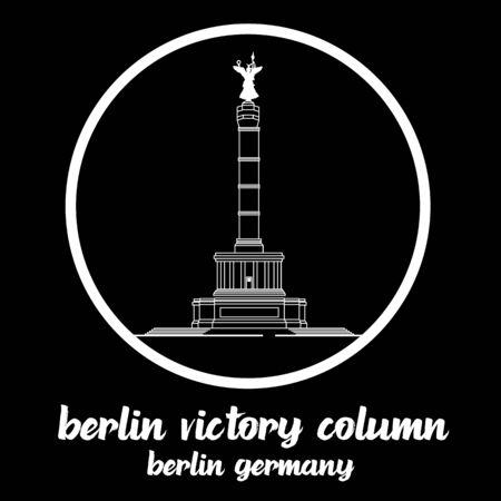 Circle Icon Berlin Victory Column. sign symbol. vector illustration Illustration