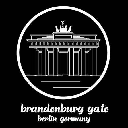 Circle Icon Brandenburg Gate. sign symbol. vector illustration