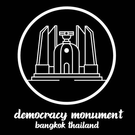 Circle Icon Democracy Monument thailand. sign symbol. vector illustration 일러스트