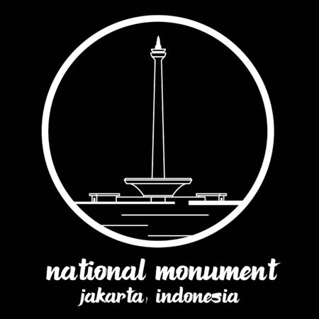 Circle Icon National Monument indonecia. sign symbol. vector illustration Standard-Bild - 133312009