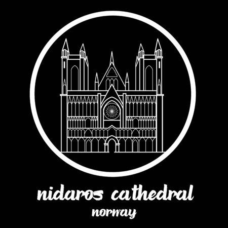 Circle Icon Nidaros Cathedral. sign symbol. vector illustration