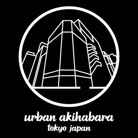 Circle icon line urban Akihabara. vector illustration 일러스트