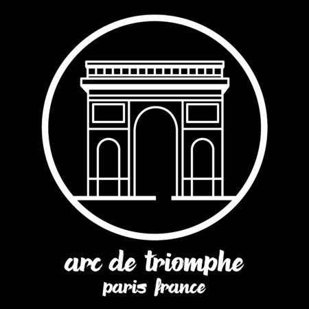 Circle Icon arc de triomphe. vector illustration