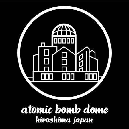 Circle icon line atomic bomb dome. vector illustration