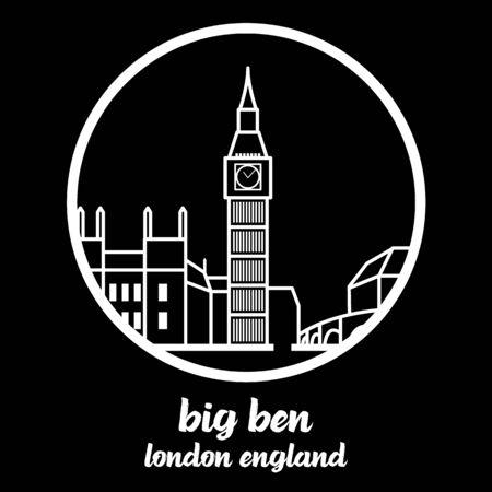 Circle Icon line big ben. vector illustration 일러스트