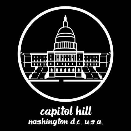 Círculo icono Capitol Hill. ilustración vectorial Ilustración de vector