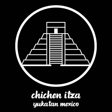 Circle Icon chichen itza. vector illustration 일러스트