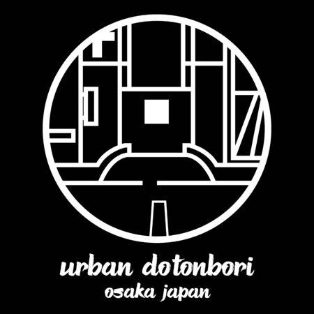 Circle icon line urban dotonbori. vector illustration