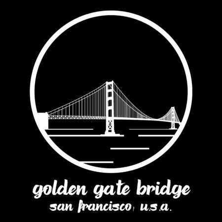 Circle Icon Golden Gate Bridge. vector illustration