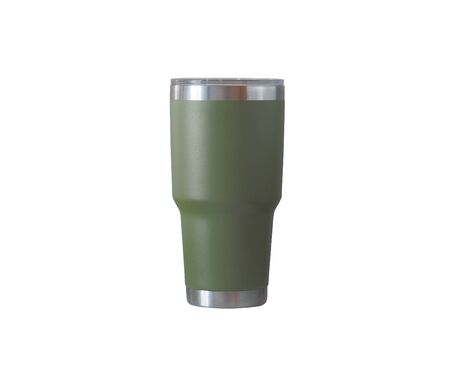 Green Cold Cup or Steel mug isolated on white background.