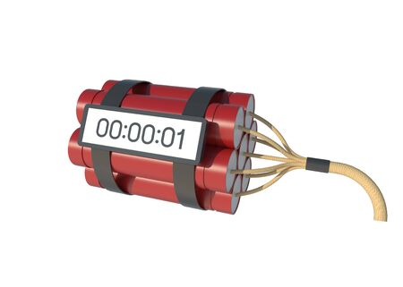 3D Illustration Realistic time bomb with Red dynamite isolated on white background with clipping path