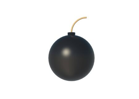 3D Illustration Black ball bomb with fuse isolated on white background