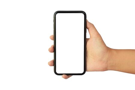 Woman hand holding smartphone device and blank touching screen for Video call,Work from home concept.isolated   on white background Archivio Fotografico