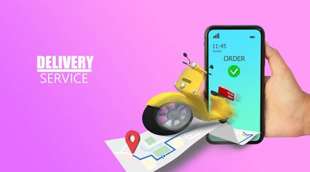 3D Illustration Fast delivery by motorcycle. E-Commerce. Online Food,Taxi,Convenience order application, Blue and white background. Perspective design. Archivio Fotografico