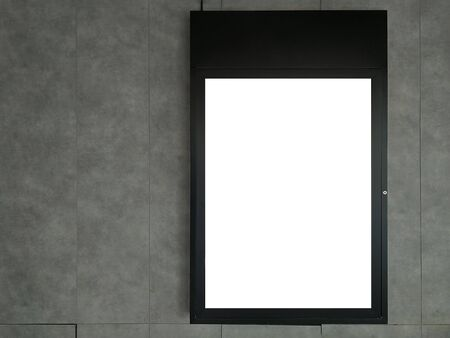 Black frame advertising signs with white background on bare cement or concrete wall Archivio Fotografico