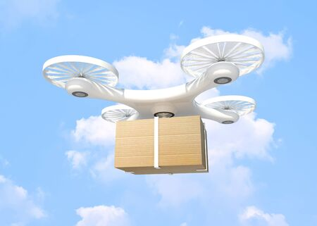 3D rendering Delivery drone with Box on Blue sky and clouds background,clipping path. - future delivery concept