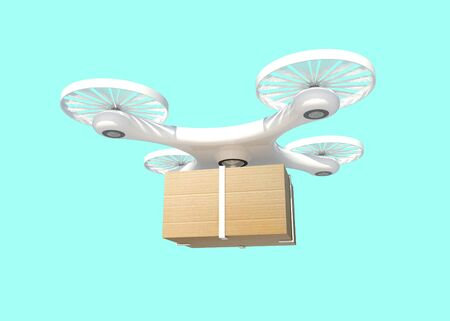 3D rendering Delivery drone with Box on Blue half green background,clipping path. - future delivery concept