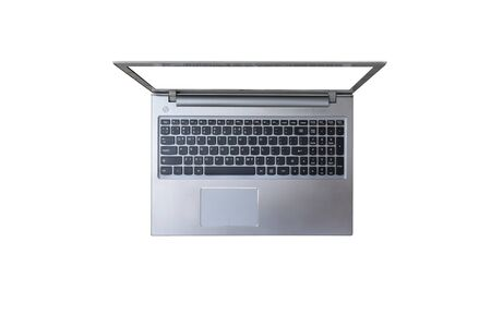 Top view of silver laptop on white background with clipping path. Archivio Fotografico