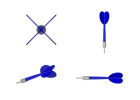 3D Illustration 4 Style view Isolated blue Darts on white background