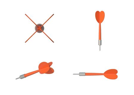 4 Style view Isolated Orange Darts on white Archivio Fotografico