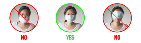 Young Asian woman showing how to wearing protective mask correctly on white background. Red circle are wrong and Green circle is right way to avoiding air pollution or avoiding viruses or illness
