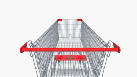 First person view or back view of Shopping cart isolated on white background. 3D illustration with clipping path.