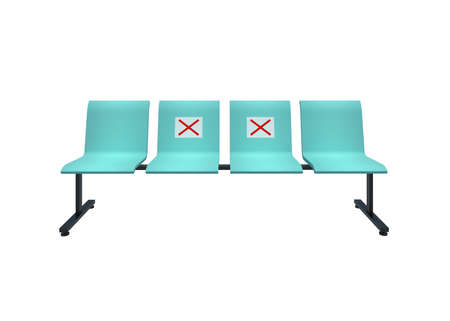 Isolated 3D Illustration 4 Seater Waiting room chairs with no-seat sign for reduce the spread of coronavirus disease 2019 - COVID-19 with clipping path. Archivio Fotografico