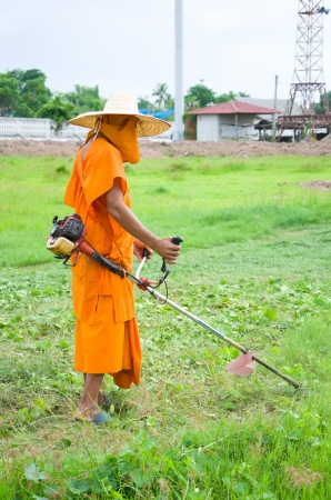 look after: Priest is mowing the grass It is his responsibility to look after temple area along with studying Buddhist teaching,and this is a good time to practise meditation also Because meditation can do everytime