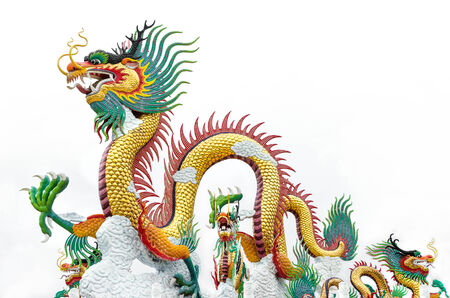 dignified: Chinese style dragon statue was created in Nakhonsawan province,Thailand It was created in Chinese style because there are a lot of Chinese who live in Nakhonsawan  Stock Photo