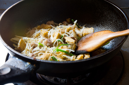 bean curd: Fried bean sprouts with bean curd Stock Photo