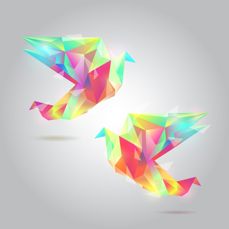 Polygon Bird,diamond texture bird  Vector
