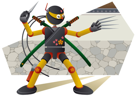 Ninja robot with iron claws and Throwing star Illustration