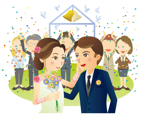 Bride and groom blessed by friends  イラスト・ベクター素材