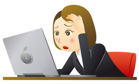 Surprised businesswoman looking at laptop pc 일러스트
