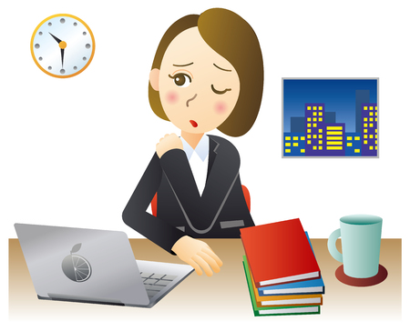 Businesswoman working overtime at the office Illustration