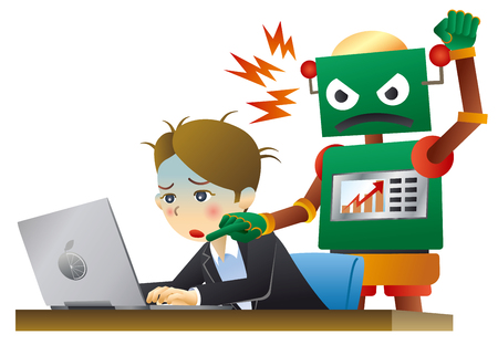 Robot and human working in office.