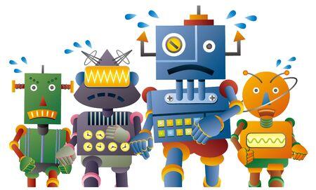 De beaux personnages de robots exécutant un marathon Vecteurs