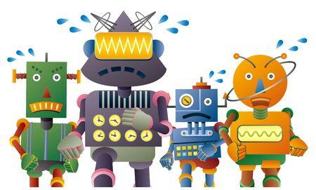Lovely robot characters running marathon
